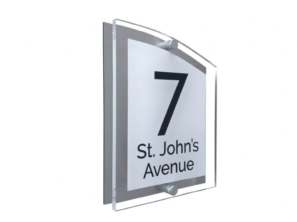 Arc Shape - Clear Acrylic House Sign - White Colour with Black text in Font  3